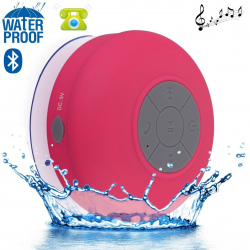 Mini enceinte Bluetooth ronde kit main libre ventouse waterproof Rose