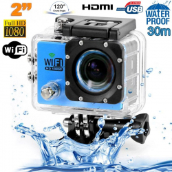Camera sport wifi étanche caisson waterproof 12 MP Full HD Bleu - www.yonis-shop.com