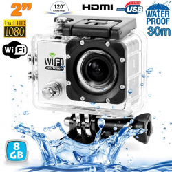 Camera sport wifi étanche caisson waterproof 12 MP Full HD Blanc 8Go - www.yonis-shop.com