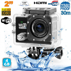 Camera sport wifi étanche caisson waterproof 12 MP Full HD Noir 4Go - www.yonis-shop.com