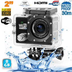Camera sport wifi étanche caisson waterproof 12 MP Full HD Noir 8Go - www.yonis-shop.com