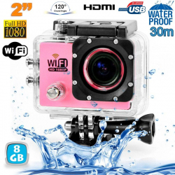 Camera sport wifi étanche caisson waterproof 12 MP Full HD Rose 8Go - www.yonis-shop.com