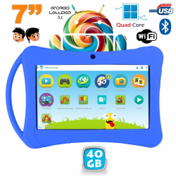 Tablette enfant 7 pouces Android 5.1 Bluetooth Quad Core 40Go Bleu