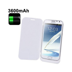 Batterie coque flip cover Samsung Galaxy Note 2 chargeur 3600mah Blanc