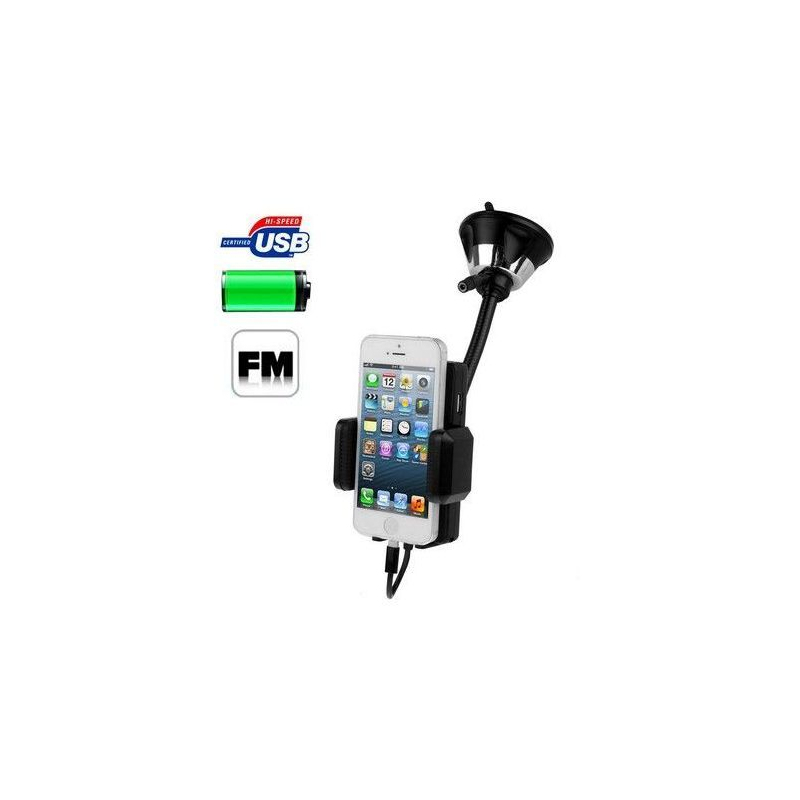transmetteur fm iphone 5 kit mains libres support voiture ventouse. Black Bedroom Furniture Sets. Home Design Ideas