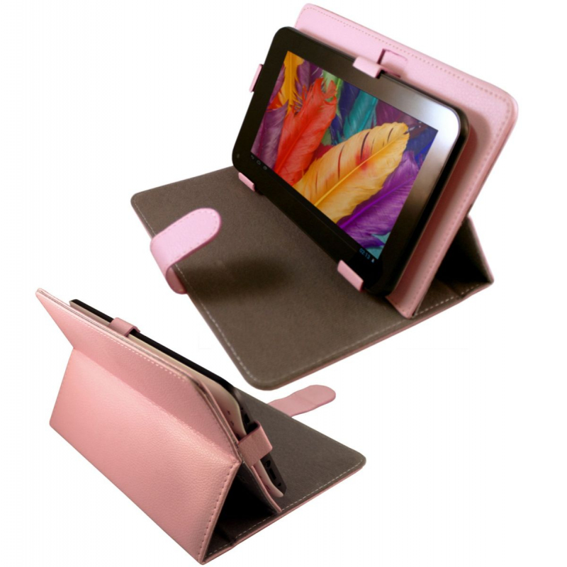 Housse universelle tablette tactile 7 pouces support tui rose for Housse universelle